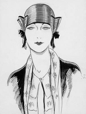 Illustration Of A Woman Wearing A Hat Art Print by Porter Woodruff