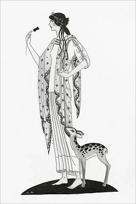 Scarf Digital Art - Illustration Of A Woman With A Deer by Claire Avery