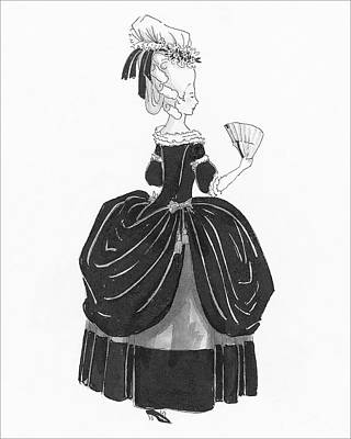 Illustration Of An Eighteenth Century Woman Art Print by Claire Avery