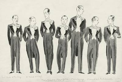 In A Row Digital Art - Illustration Of Bachelors In Tuxedos by Jean Pages