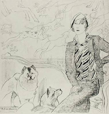 1930s Fashion Digital Art - Illustration Of Baronne Eugene De Rothschild by Rene Bouet-Willaumez