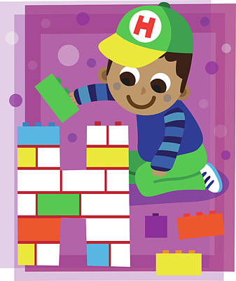 Illustration Of Boy Making Letter H With Blocks Art Print by Fanatic Studio / Science Photo Library