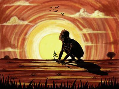 Illustration Of Boy Planting Sapling Art Print