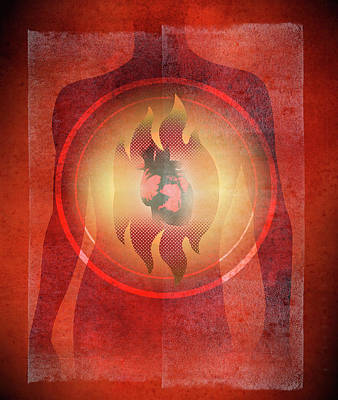 Burning Heart Wall Art - Photograph - Illustration Of Burning Heart by Ikon Ikon Images