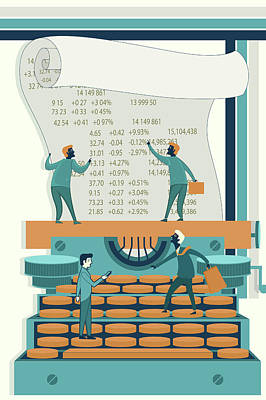 Accountancy Wall Art - Photograph - Illustration Of Businessmen Calculating Stock Finances by Fanatic Studio / Science Photo Library