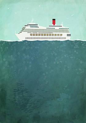 Digital Art - Illustration Of Cruise Ship Sailing On by Malte Mueller