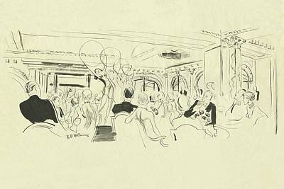 Leisure Digital Art - Illustration Of Elegant People At Dinner Tables by Rene Bouet-Willaumez