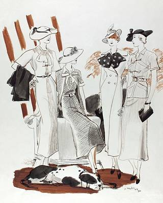 Illustration Of Four Models In Luncheon Costumes Art Print by Jean Pages