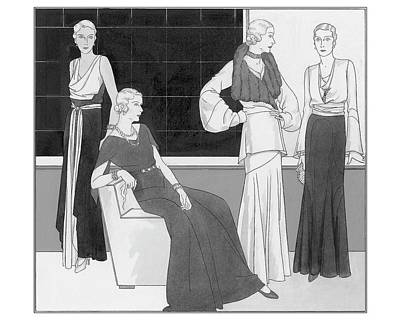 Illustration Of Four Women Wearing Over Forty Art Print