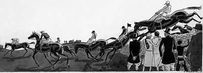Horseback Digital Art - Illustration Of Jockeys Riding Horses by Jean Pages