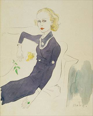 Illustration Of Lady Abdy Sitting On Sofa Art Print by Cecil Beaton
