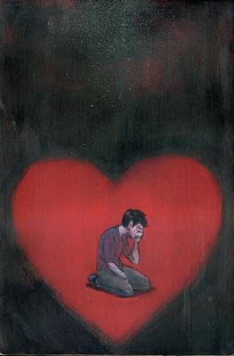 Disappointment Wall Art - Photograph - Illustration Of Man Crying In Heart by Fanatic Studio / Science Photo Library