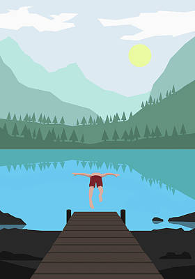 Digital Art - Illustration Of Man Diving Into Lake by Malte Mueller