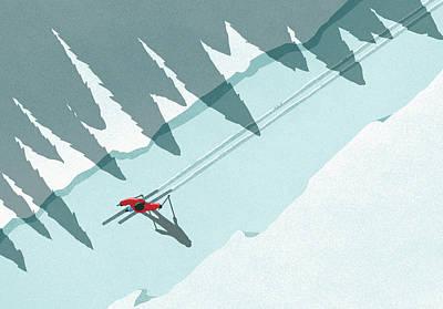 Digital Art - Illustration Of Man Skiing During by Malte Mueller