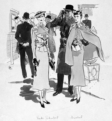 Illustration Of Men And Woman At The Races Art Print