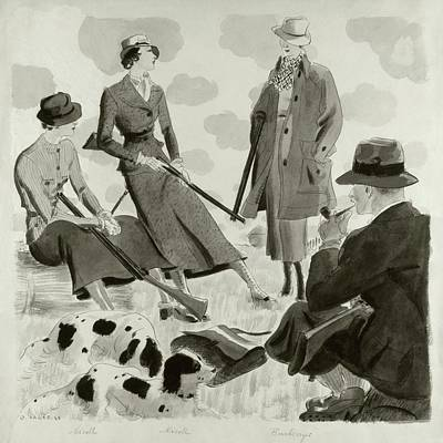 Illustration Of Men And Women Wearing Hunting Art Print by Jean Pages