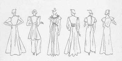 Evening Gown Digital Art - Illustration Of Models Wearing Evening Outfits by Artist Unknown