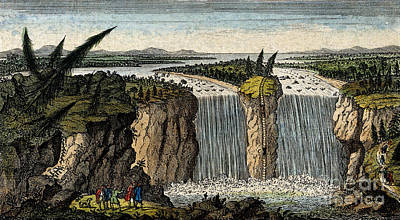 Illustration Of Niagara Falls, 1751 Art Print by Wellcome Images