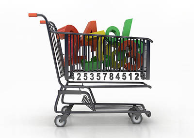 Discount Codes Wall Art - Photograph - Illustration Of Numbers In Shopping Cart by Fanatic Studio / Science Photo Library