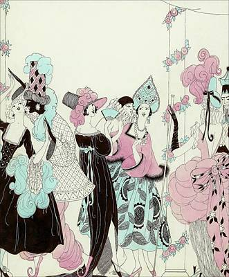 Illustration Of People At A Costume Party Art Print