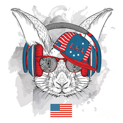 Anthem Wall Art - Digital Art - Illustration Of Rabbit In The Glasses by Sunny Whale