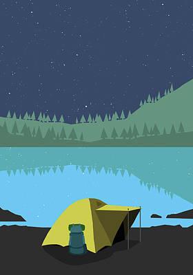 Digital Art - Illustration Of Tent At Lakeshore by Malte Mueller