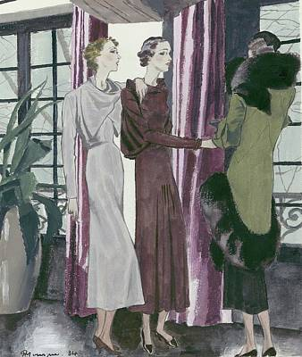 Potted Plant Digital Art - Illustration Of Three Fashionable Women by Pierre Mourgue