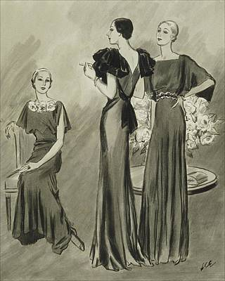 Chairs Digital Art - Illustration Of Three Models In Evening Gowns by Creelman