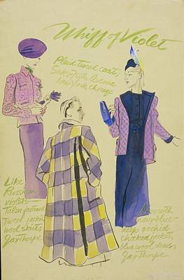 Illustration Of Three Models Wearing Violet Print by R.S. Grafstrom