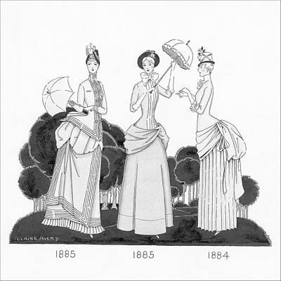 Umbrellas Digital Art - Illustration Of Three Nineteenth Century Women by Claire Avery