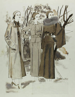 Winter Trees Digital Art - Illustration Of Three Women In A Park by Pierre Mourgue