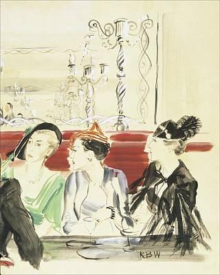 Alcoholic Drink Digital Art - Illustration Of Three Women Wearing Designer Hats by Rene Bouet-Willaumez