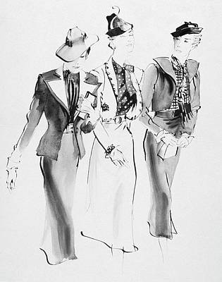 Clutch Bag Digital Art - Illustration Of Three Women Wearing Skirt Suit by Rene Bouet-Willaumez