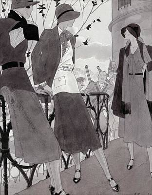 Scarf Digital Art - Illustration Of Three Women Wearing Stylish Suits by Jean Pages