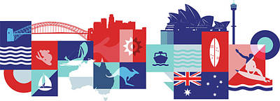 Illustration Of Tourist Attractions In Australia Art Print by Fanatic Studio / Science Photo Library