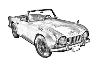 Antique Automobiles Photograph - Illustration Of Triumph Tr4 Sports Car by Keith Webber Jr