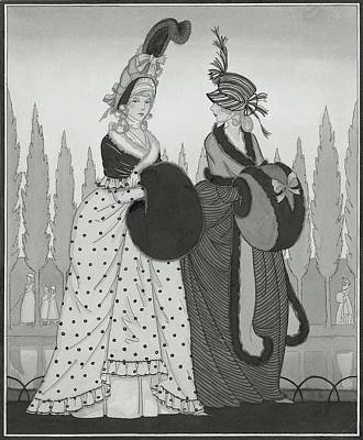 Illustration Of Two Eighteenth Century Women Art Print by Claire Avery