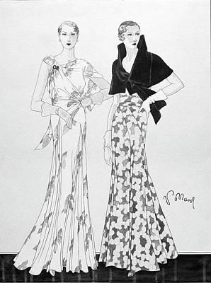 Evening Gown Digital Art - Illustration Of Two Fashionable Women by Douglas Pollard