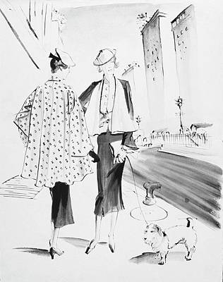 Dogs Digital Art - Illustration Of Two Fashionable Women by Rene Bouet-Willaumez