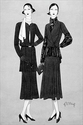 Illustration Of Two Women In Lavin Suits Print by Douglas Pollard