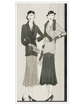 Illustration Of Two Women Modeling Suits Art Print by Douglas Pollard