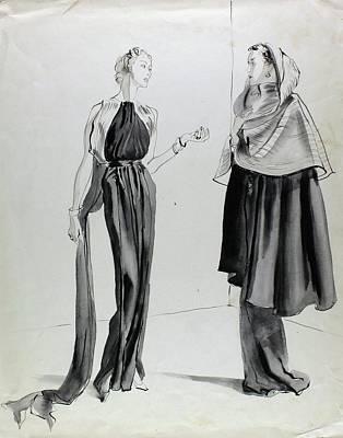 Talking Digital Art - Illustration Of Two Women by Rene Bouet-Willaumez