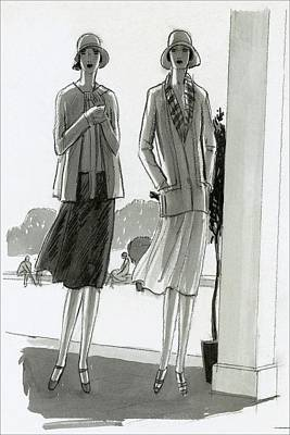 20th Digital Art - Illustration Of Two Women Standing In A Shadow by Porter Woodruff