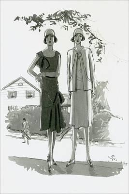 20th Digital Art - Illustration Of Two Women Standing In Shadow by Porter Woodruff