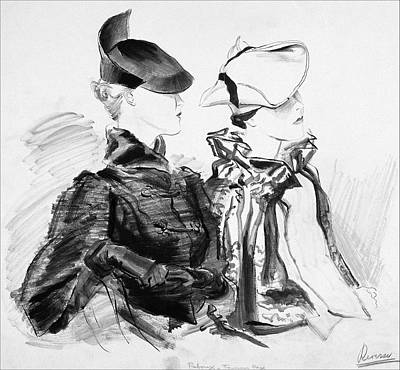 Black And White Digital Art - Illustration Of Two Women Wearing Berets And Capes by Rene Bouet-Willaumez