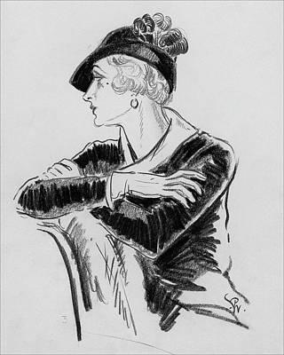 Feathered Hat Digital Art - Illustration Of Woman Wearing Franklin Simon Hat by Porter Woodruff