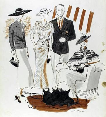 1930s Fashion Digital Art - Illustration Of Women And A Man In Country Club by Jean Pages