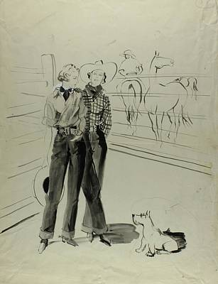 Illustration Of Women At A Ranch Art Print by Rene Bouet-Willaumez