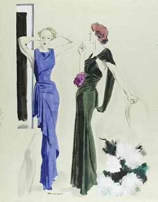 Velvet Digital Art - Illustration Of Women In Patou Dresses by Pierre Mourgue