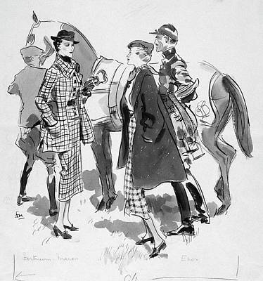 Illustration Of Women Standing In Front Of Racing Art Print